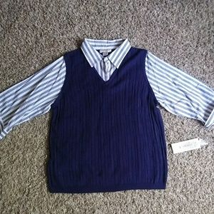 Allison Daley Striped knitted cotton Top Blouse